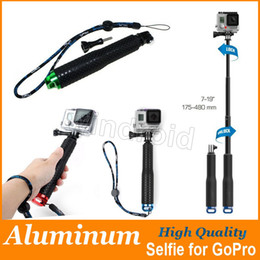 Wholesale Gopro Adapters - Gopro Aluminum selfie Extendable Pole Telescoping Handheld Monopod with Mount Adapter for Hero SJCAM Lengthen 95cm 48cm high quality