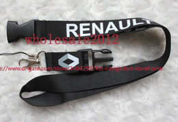 Wholesale Renault Badge - Hot!New 10pcs fashion black Car Logo Keyring Keychain Phone Lanyard For Renault Lanyard ID badge Holders neck strap