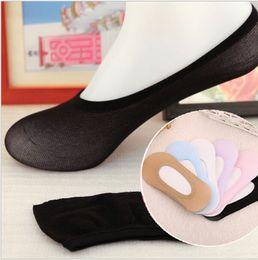 meias ultra baixas Desconto Atacado-6 pares / pacote Womens Ultra Low-Cut Sock Forros Solid Transparente Slipper Meias Calcetines mujer