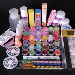 Wholesale Uv Gel Brush Cleanser - Wholesale-36pcs Nail Art UV Gel Set UV Lamp Brush Pen Tool Topcoat Primer Forms cleanser Nail files buffer painting false nails kit