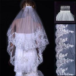 Кружево с двойным краем онлайн-Свадебная фата высококачественная фата свадебная фата высококачественная кружевная фата и чистая пряжа вуаль горячая элегантная белая и двойная хвостовая фата, прикрепленная к гребню
