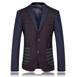 Wholesale Noble Coats - Wholesale-High Quality Luxury Noble Celebrities Casual Male Suit Coat Plus Size Patchwork Woolen Men's Business Party Blazer Jackets