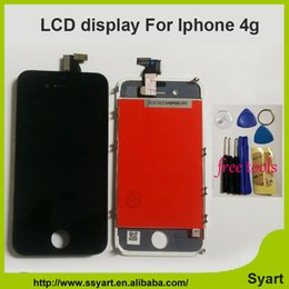 Цена сенсорной панели онлайн-Wholesale-Black White Color Best price 4g LCD Disply For  4 LCD Screen With Touch Glass Panel Digitizer Screen Assembly Replacement