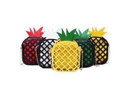 Borse di ananas online-Borsa a tracolla in pelle per ragazze Borsa a tracolla per bambina con ananas con catena Scava fuori la borsa per borse di frutta per bambina