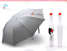Vasi di bud online-Moda Vaso bottiglia ombrello pieghevole UV Sun Rain portatile Parasol Geisha giapponese Ragazza disegno bianco Bud a forma di custodia in plastica