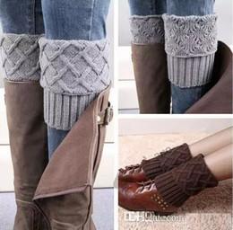 Wholesale Feet Boot - Moldbaby Leg Warmers Rhombus Plaid Boot cuff Short Flanging Leg Warmers Knitted Foot socks boot cuff knit leg warmer B176
