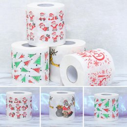 Wholesale wholesale printed paper napkins - Santa Claus Printed Toilet Paper Merry Christmas Bath Toilet Roll Paper Tissue Living Room Table Decor OOA3740