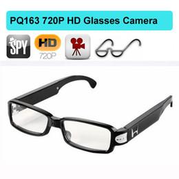 Wholesale Hd Hidden Camera Glasses - 1280*720P HD Glasses Camera video spy eyewear glass mini DV dvr camera 1280*720P sunglasses hidden camera recorder camcorder PQ163