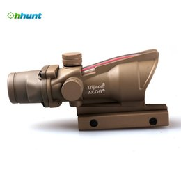 Wholesale Scope Air - Tan Trijicon ACOG 4x32 Red Illuminated Crosshair .223 Ballistic Reticle Tactical Scope For Air Gun Airsoft