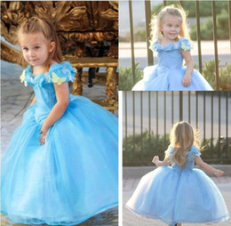 Wholesale Kids Christmas Pageant Costume - .Lovely Cap Sleeve Girl's Pageant Dresses Deluxe Cinderella Dress Cosplay Costume Party Dress Princess Dress Cinderella Costume For Kids
