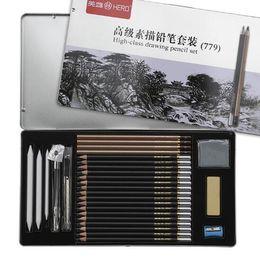 Wholesale Big Charcoal - Sketch Pencil Set Sketching Case Beginners Carbon Pencil Professional Drawing Pen Charcoal Eraser Cutter Kit Bag Art Craft CCA7869 50set