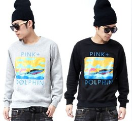 Wholesale Pink Dolphin Sweatshirts - 2016 pinkdolphin hip hop crewneck sweatshirt brand men fashion citi trends clothes plus size sweat suit pink dolphin sweatshirt