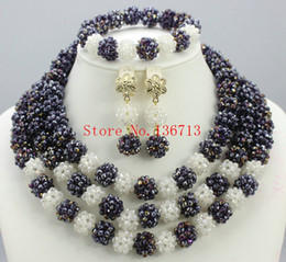 Wholesale Middle Eastern Dresses For Sale - New year big sale! Classic Orange red blue Nigerian african beads jewelry set sets in wedding party dinner dress for women BS303-9