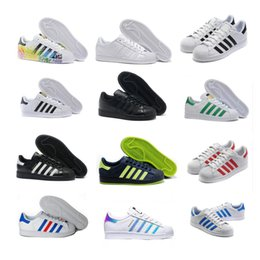 Wholesale Rainbow Striped Fabric - 2016 superstar white hologram rainbow superstar 80s pride shoes superstar, men's and women's sports shoes 36-45 no shoebox