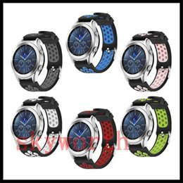 Wholesale S3 Grey - For gear s3 Classic R770  Frontier Adjustable Dual Color Silicone Straps Bands Fitness Replacement Accessories Wrist Band With Metal Clasp
