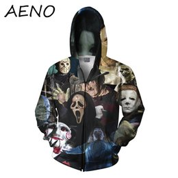 Wholesale Khaki Pink Outfit - Wholesale-funny women men brand 3d outfits print horror movie killers Halloween Devil shark Zombie hoodies fashion sport hooded sweatshirt