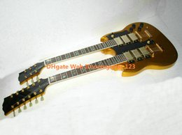 Wholesale New Arrival Electric Guitar Gold - Goldtop 3 Pickups 6 12 Strings Double Neck Electric Guitar Gold Hardware New Arrival Wholesale Guitars HOT