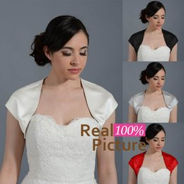 Wholesale Short Satin Wedding Jackets - 2015 Simple Satin Bridal Bolero Jackets Front Open Neck Cap Sleeves Wedding Wrap Shrug New Arrival Custom Made Cheap Wedding Accessories