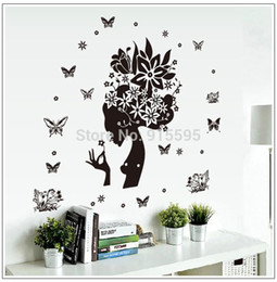 Wholesale Diy 3d Fairy Wall Stickers - Free Shipping: Black Transparent Removable Floral Fairy 3D Art DIY Vinyl Wall Decals Stickers Home Decor