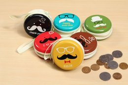 Wholesale Vintage Earphone - Cute Cartoon Mustache Tin Metal Round Zip Earphone Cable Earbuds SD Card Carrying Bag KeyCoin Key Coins Case Pouch Purse Wallet