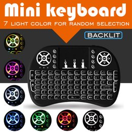 Wholesale Mini Mouse Color - Backlit keyboard 7 color Remote Fly Air Mouse Mini wireless Keyboard Combo Wireless 2.4G Remote With Touchpad Handheld For android TV BOX