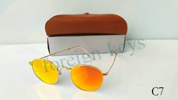 Wholesale Red Man Flash Drive - New Round Metal Sunglasses Designer Eyewear Gold Flash Glass Lens For Mens Womens Mirror Sunglasses Round unisex glasses