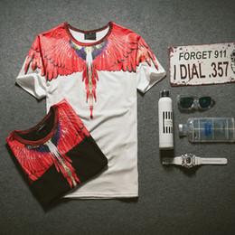 Wholesale Lycra Shirts Men - Men Brand 3d Wing Printed Hip Hop T shirt Men Skateboard Short Sleeve Marcelo Burlon Tee Shirts Casual T-shirts Camisetas Hombre