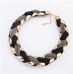 Wholesale Wholesaler Coupon - Wholesale-Beaded Necklaces For Women Coupon Neclaces Boho Bead Alloy Choker Neckless Free Shipping SF-9081