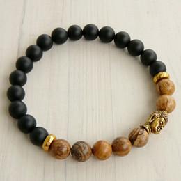Wholesale Gold Black Onyx Bracelets - SN0243 Lucky Gold Buddha Bracelet Yoga Jasper Black Onyx Bracelet Mens Black Bracelet Stretch Bracelet for Men