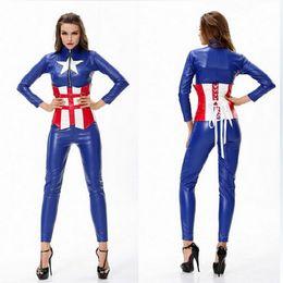 Wholesale Heroes Theme - 2015 hot sales Avengers 2 cosplay blue women sets blouse pants corset one set fashion women Captain America theme costume
