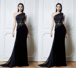 Wholesale See Through Dresses Zuhair Murad - Black One Shoulder 2015 Zuhair Murad Evening Dresses Handmade Flower See Through Appliques A-Line Sweep Train Prom Evening Party Dress