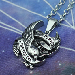 Wholesale Stainless Biker Necklaces - Silver Punk Harley Biker Eagle Hawk Ride to Live Stainless Steel Pendant Jewelry Men's Charming Jewelry