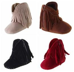 Wholesale Red Fringe Ankle Boots - baby girl winter high waist zipper tassel 2016 casual plus velvet toddler boots PU soft bottom infant girl balancing warm boots 12pair 24pcs