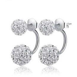 Wholesale Silver Ball Beads Wholesale - ORSA JEWELS Popular Girl's Double Sided Ball Stud Earring Crystal Full Set Crystal Beads Earrings Romantic Gift for Women OE92