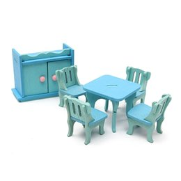 Wholesale Furniture Dining Rooms - Wholesale- New Wooden Doll House Miniature DIY Dining Room Furniture Set Toy Gift For Children Kids Pretend Role Play Toy Furniture Toys