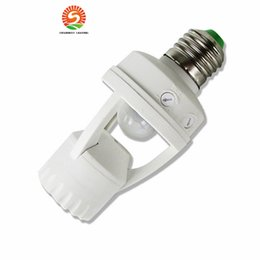 Wholesale Light Switches Motion Sensors - 2017 New New E27 PIR Induction Infrared Motion Sensor LED lamp Base Holder With light Control Switch 110V-240V 60W Bulb Socket Adapter