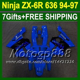 Wholesale Kawasaki Zx6r Fairing 1995 - Blue west 7gifts+Body For KAWASAKI NINJA ZX6R 94 95 96 97 Blue lback P561 ZX 6R 636 ZX636 ZX 6 R 94-97 ZX-6R 1994 1995 1996 1997 Fairings