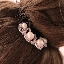 Wholesale Spiral Headbands - Factory wholesale G89 independent packaging purple pearl diamond alloy spiral hairpin, hairpin OL fashion headdress ornaments Hot