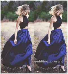 Wholesale Evening Blouses - Two Pieces Royal Blue Evening Dresses Long Skirt and Black Blouse Red Carpet Dresses Halter Prom Gowns