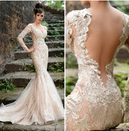 Wholesale Organza Brooch - 2015 Vestidos de Fiesta Pageant Gowns Long Sleeve Beaded Lace Champagne Plus Size Evening Dresses with Open Back