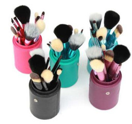 Wholesale Drums Cup - 12 Pcs Set Makeup Brush Set Drum Make-up Brushes Portable Natural Handle Beauty Tools Cosmetic Brush With Leather Cylinder Cup Holder