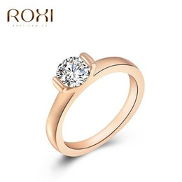 Wholesale 24k White Gold Rings - Ring 2016 Fashion New Women Engagement Austrian Crystal 24K Rose Gold Filled Full Size Zircon Ring Wedding Bride Jewelry 080104