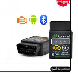 Wholesale Elm327 Obd Bluetooth - 2017 New arrival Version 2.1 ELM327 HH OBD Advanced MINI ELM 327 V2.1 Black Bluetooth OBD2 Car CAN Wireless Adapter Scanner Tool
