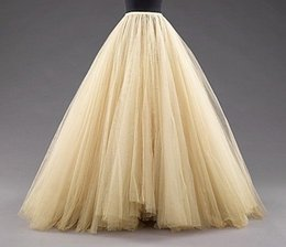 Wholesale Red Striped Tulle Girls Dress - Custom Made Medium Beige Tulle Skirts Floor Length Mulitilayer Cheap Party Dress For Girl Free Size Formal Women Gowns 2015 Hot Sale