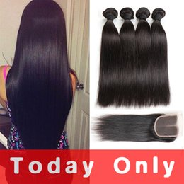 Wholesale Weaves Brazilian Hair Grades - Mink Brazilian Virgin Hair Straight With Lace Closure 10A Grade Brazilian Straight Human Hair Weave 3 Bundles With Lace Closure