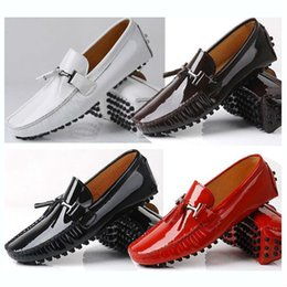 Wholesale White Dress Shoe Men 11 - Big size 11 12 EUR 45 46 Brand NEW Genuine Leather Men red tassel slip on Casual diving Shoes loafer dress shoe Patent Leather