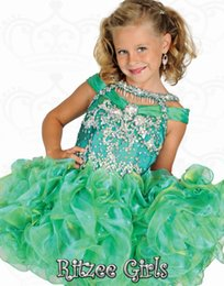 Wholesale Emerald Green Sashes - 2016 Luxuries Emerald girls Pageant Dresses tassels cap sleeve backless Ritzeegirls flower girl Formal Gowns cascading Ruffles Tutu Skirt