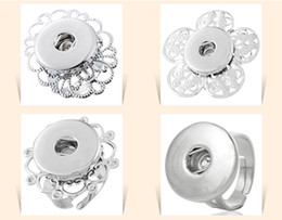 Wholesale Hook Ring Clasp - 2015 Noosa button ring Jewelry Interchangeable Metal Snap Button Adjustable Ring Ginger Snap Ring 7 styles D549M