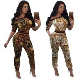 Wholesale ladies half pants - Fashion Plus Size Women Two Piece Sets Female Autumn Printed Top + Pants Ladies Half Sleeve 2 Pieces Sporting Suits