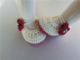 Argentina Crochet Knitt botines Crochet bebé encantador zapato para la flor roja Calcetines bebé recién nacido Zapatos / Zapatos para niños pequeños 0-12M personalizar Suministro